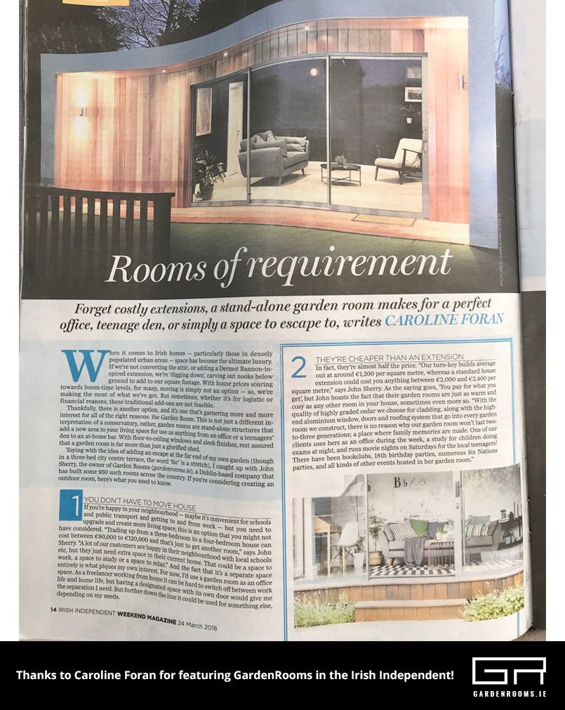 Garden Rooms of Requirement - Irish Independent Feature